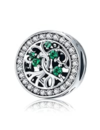 Tree of Life Green CZ 925 Sterling Silver Bead Fits European Charm Bracelet