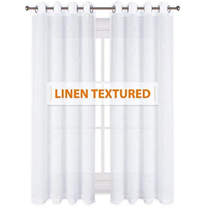 8cc5ce64630 RYB HOME Linen Wave Pattern Sheer Drapes for Large Windows Decoration