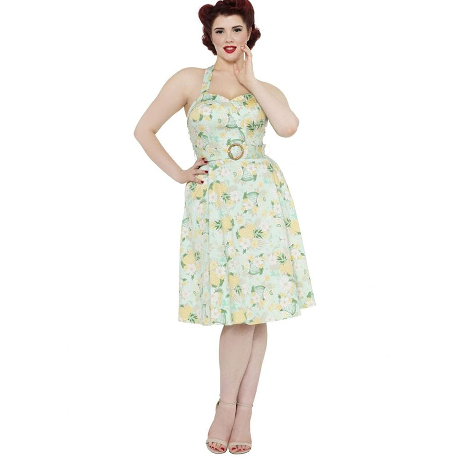 Retro Tiki Dress – Tropical, Hawaiian Dresses Voodoo Vixen Womens Layla Tropical Dream Flare Dress Green $75.70 AT vintagedancer.com