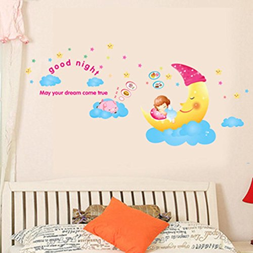 BIBITIME Sleeping Moon Girl Wall Decal Dreaming Pig Lovely S