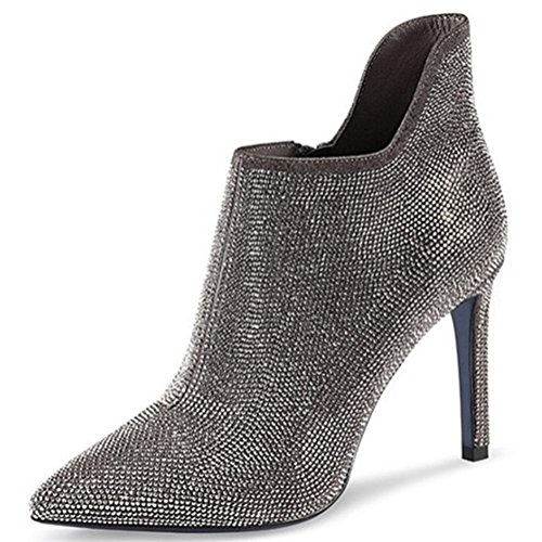 Ankle Stiletto Boots Women's Toe Fall Winter Shoes Microfiber blue Best 4U Sole Rubber Boots Heel Pointed Glitter Booties SWpwWqB6