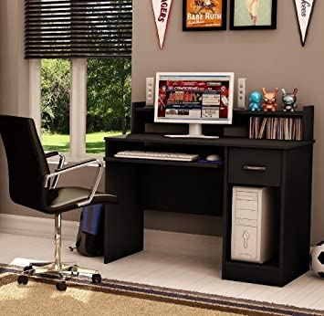 Small Wood Desk Solid Black
