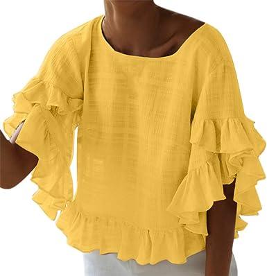 Qingsiy Camisetas Mujer Verano Blusa Mujer Sport Tops con ...