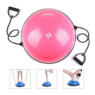 ZELUS 23 Inch Large Yoga Balance Ball Trainer with Resistance Bands & Foot Pump for Yoga Fitness Strength Exercise Workout