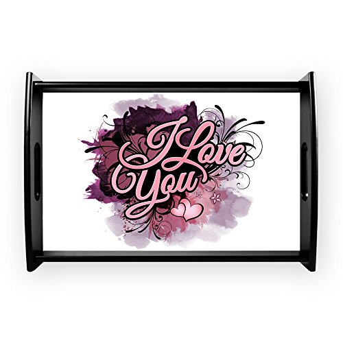 Small Serving Tray I Love You Purple Floral Grunge by Truly Teague