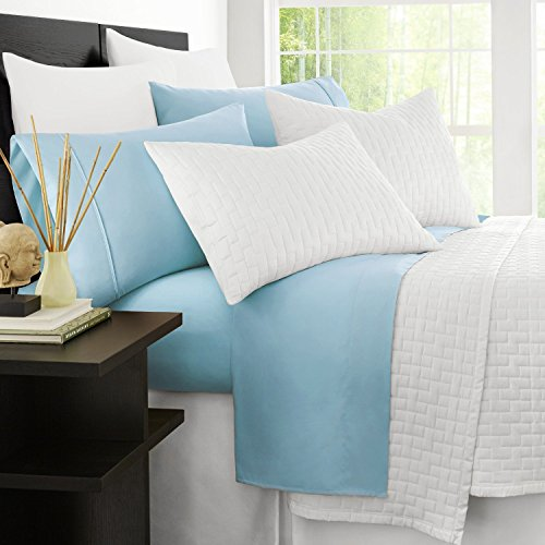 Zen Bamboo Luxury 1500 Series Bed Sheets - Eco-Friendly, Hypoallergenic and Wrinkle Resistant Rayon Derived from Bamboo - 4-Piece - Twin - Sky Blue