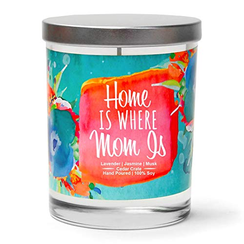 Home is Where Mom is | Lavender, Jasmine, Musk | Luxury Scented Soy Candles | 10 Oz. Jar Candle | Made in The USA | Decorative Aromatherapy | Birthday Gifts for Mom