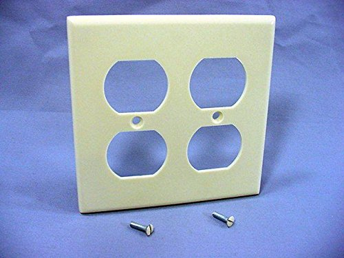 (Leviton 82016 2-Gang Duplex Device Receptacle Wallplate, Standard Size, Thermoset, Device Mount, Almond)