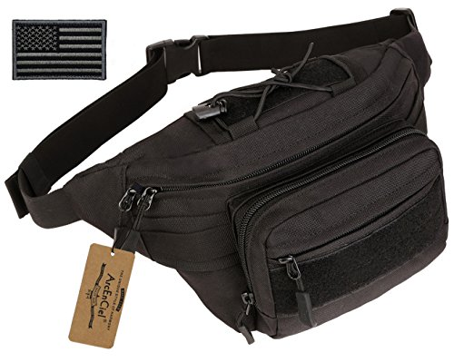 ArcEnCiel Outdoor Military Waist Bag Tactical Waist Pack Shoulder Bag Multi-pocket Molle Camping Hiking Pouch Belt Wallet Pouch Purse with Patch (Black)