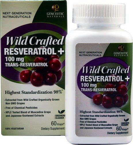 Genceutic Naturals Wild Crafted Rseveratrol+ -- 100 mg - 60 Vcaps® - 3PC by Genceutic Naturals