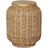 Emissary Home & Garden 71073NT LG Lantern Stool, Water Hyac/Wood