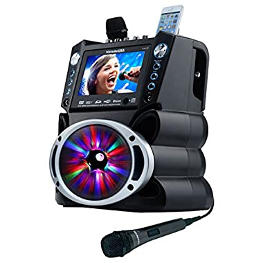 Karaoke GF842 DVD/CDG/MP3G Karaoke System with 7  TFT Color Screen, Record, Bluetooth and LED Sync Lights