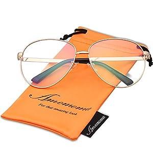 Amomoma Oversize Clear Lens Classic Aviator Eyeglasses Optical Eyewear Frame AM5014 with Gold Frame