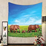 Gzhihine Custom tapestry Elephants Decor Tapestry Illustration With Elephant Happy World Trees Leaves Hearts Love Children Art Bedroom Living Room Dorm Decor