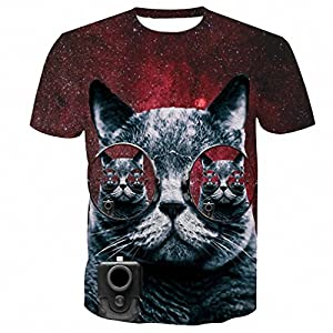 Hiuwa Unisex 3D T-Shirt Tee Tops Sunglass Gray Cat Animal