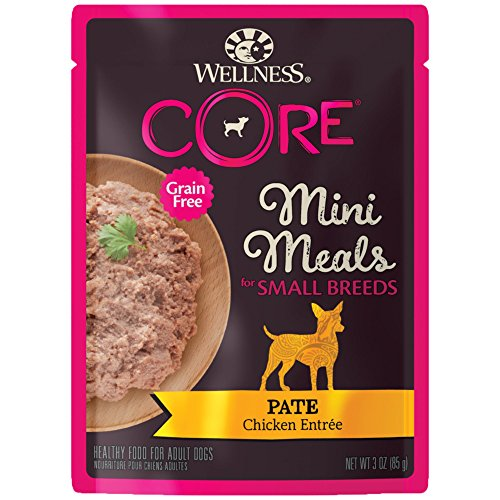 Wellness Core Natural Grain Free Small Breed Mini Meals Wet Dog Food, Pate Chicken Entrée, 3-Ounce Pouch (Pack Of 12) ()