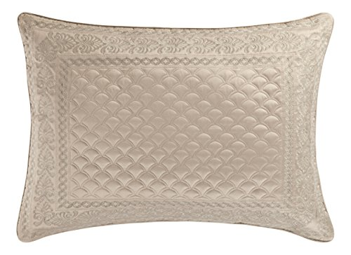 Five Queens Court Zarah Satin Damask Embroidered Pillow Sham King, Taupe - Embroidered Boudoir Sham