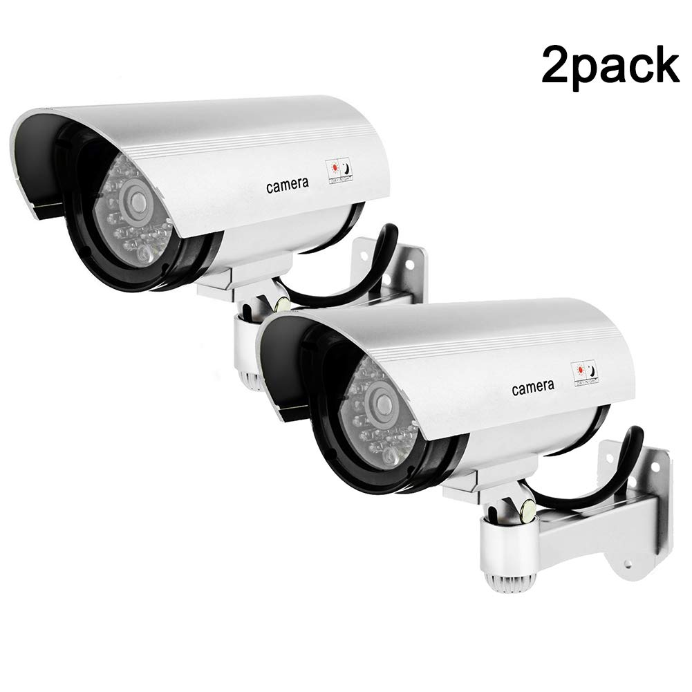 QLPP Dummy Camera,Outdoor Fake/Dummy Security Camera with Blinking Light,CCTV Surveillance Security Camera,Bullet Simulated Surveillance Camera,A,2pack