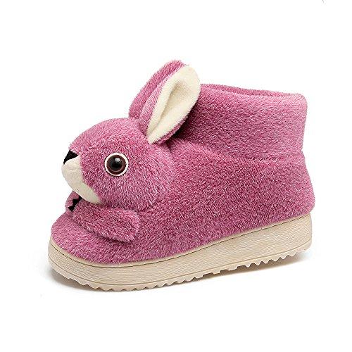Y-Hui Indoor pantofole di cotone Arredo Casa Bella coniglio Anti Slip borsa con caldo inverno scarpe di cotone,235 (per 34, 35 piedi),viola