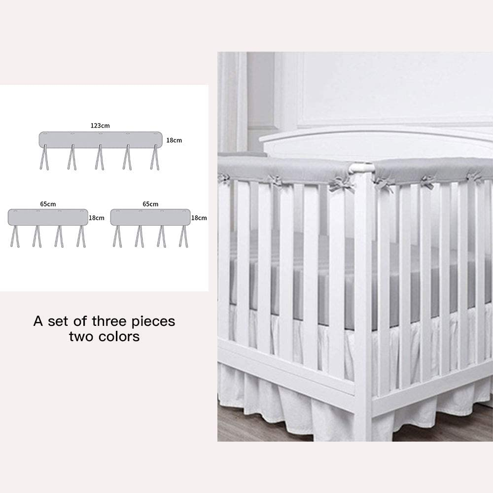 Zebery Baby Crib Rail Cover Set for 1 Front Rail and 2 Side Rails,Safe Kids Padded Crib Rail Protector from Chewing for Standard Cribs,Soft Batting Inner for Baby Teething Guard
