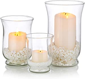 Glass Candle Holder 1 Set(3Pcs) Hurricane Candleholder Multiple Uses Christmas, Halloween Centerpieces for Pillar Votive Tealight Floating Candle, Flower Vase, Terrarium Planter