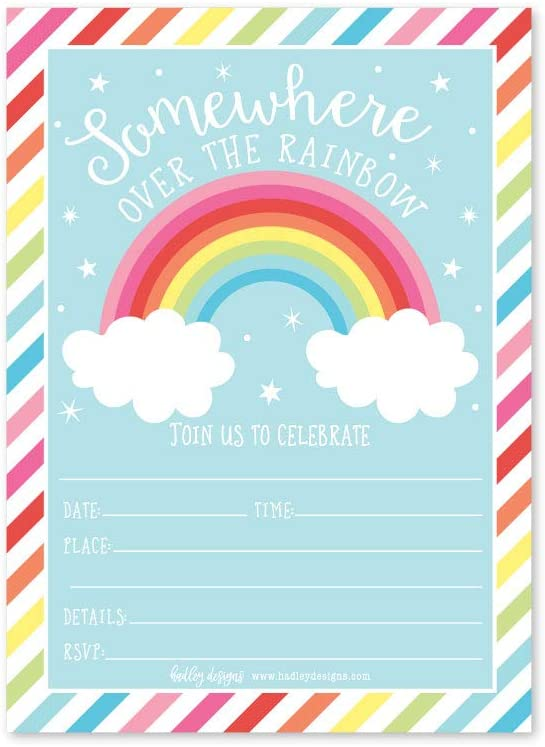 25 Rainbow Stars Color, Cloud Colorful Sparkle Party Invitations, Striped Colored Pastel Girls Invite Ideas, Kids Adults Birthday Supplies, Baby or ...