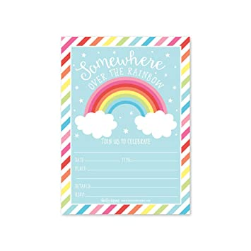 25 Rainbow Stars Color Cloud Colorful Sparkle Party Invitations Striped Colored Pastel Girls Invite