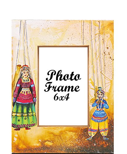 Hand Painted Indian Village Puppet Show 9''7'' Brown Photo Frame-Made Displays Pictures 4''6''-Tough Wood Material Indian Artwork for Decor-Perfect for Gifting By Klamod India