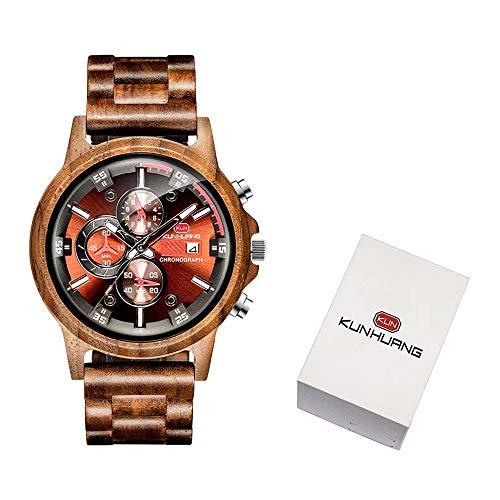 Top WH Mens Natural Wooden Watches Stylish Analog Quartz Movement Chronograph Handmade WristWatches Luxury Business Quartz Wristwatch Multifunction Date Watch