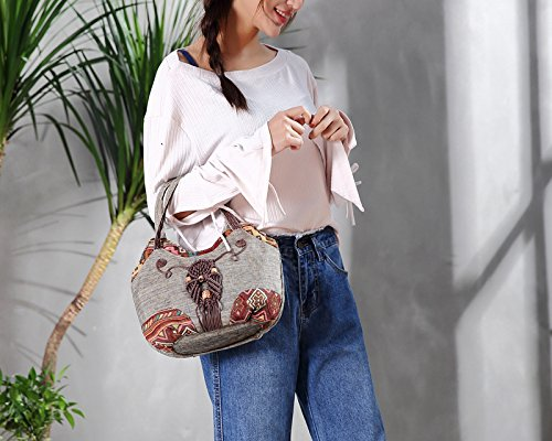 Womens Embroidered Handbag Tote Chic Bag Beach Grey Boho Travel S6wrqtSB