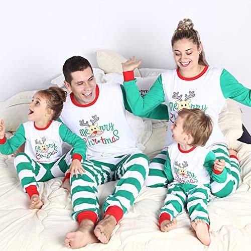Pigiama Juleya lungo Buon manica Mamma Natale Papà Pelo Homewear Pigiama Mamma Bambini Set Pigiami Natale Bianco abbinabile Set Famiglia Pigiama Abiti ffFvax