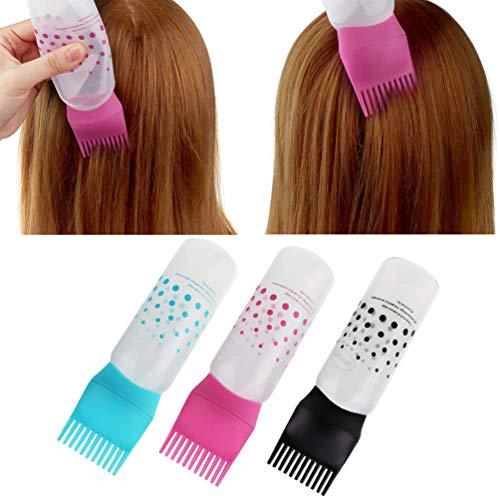 Lurrose 3pcs Applicator Bottle Hair Dye Bottle Root Comb Applicator Bottles Hair Dyeing Bottles Salon Hair Coloring Dyeing Lurrose