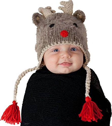 Huggalugs Boys or Girls Rudolph Reindeer Beanie Hat M Brown