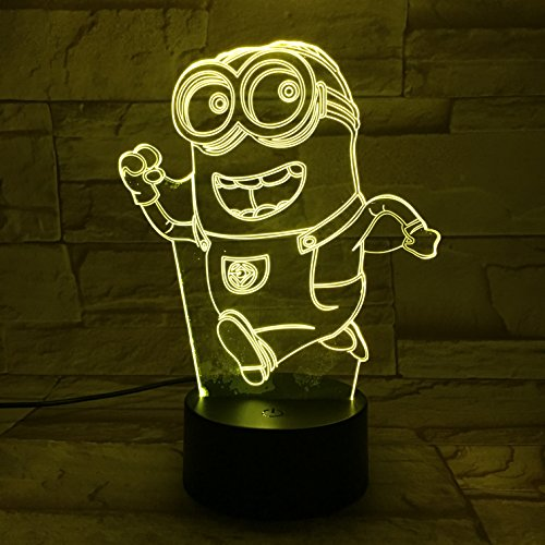 LE3D 3D Optical illusion Night Light - 7 LED Changing Light Colors - For your bedroom | Office - Soft Cool light Is Safe for kids - Many Different Designs- A special Gift For Kids (Minion)
