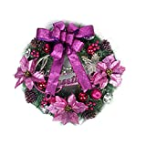 lightclub Christmas Garland Wreath Door Tree Bell Bowknot Hanging Ornament Home Decor Autumn Fall Wreath Wreaths for Front Door Purple 50cm