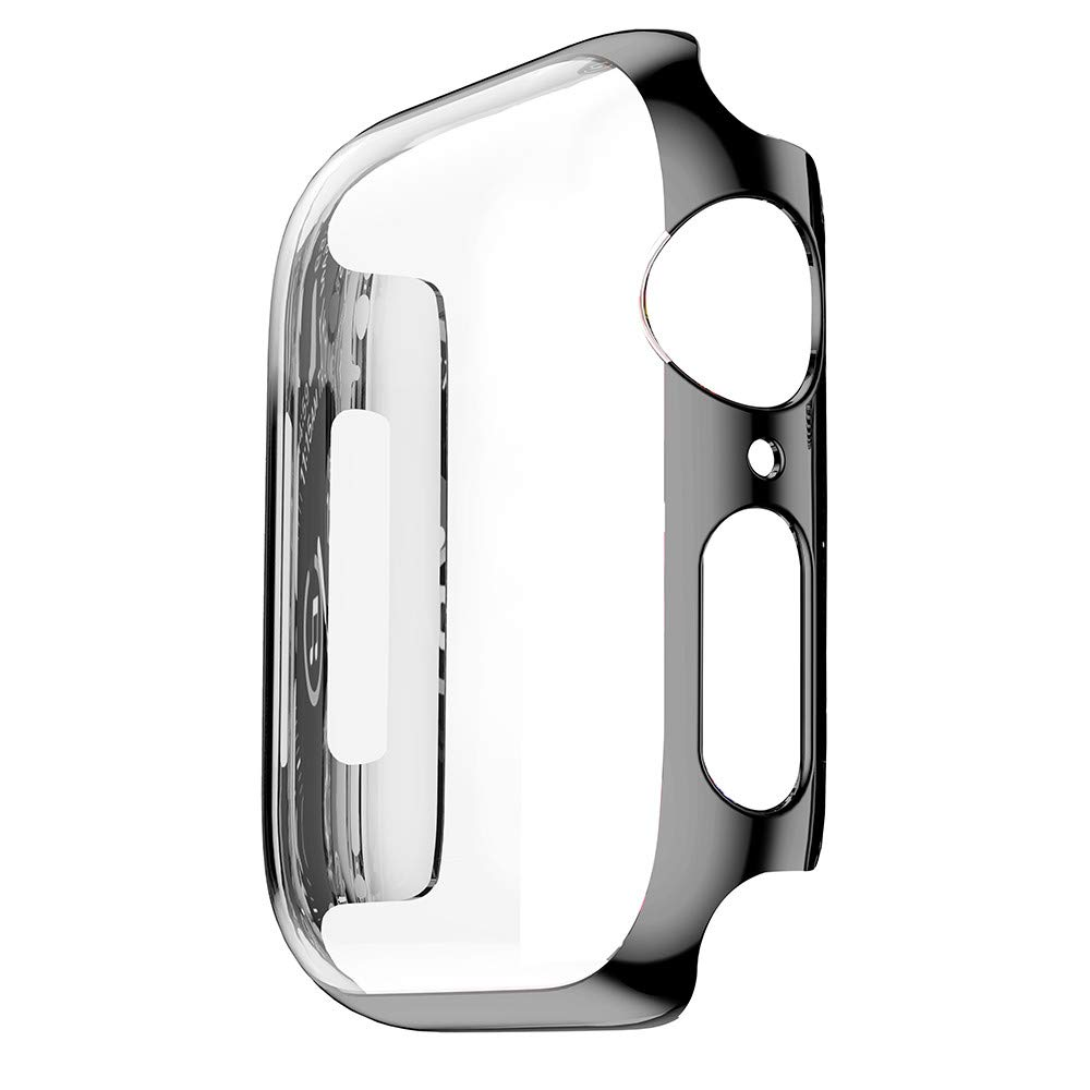 SUKEQ Ultra Thin PC Plating Protective Bumper Case Slim Shockproof Frame Cover Shell for Apple Watch 4 44mm (Black)
