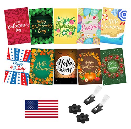 Mogarden Seasonal Garden Flags Set - 10 Pack, Free 2 Stopper & 2 Wind Clip & USA Flag Car Sticker, Artistically Designed Yard Flags, Double Sided, 12 x 18 Size, Thick Weatherproof Polyester Fabric