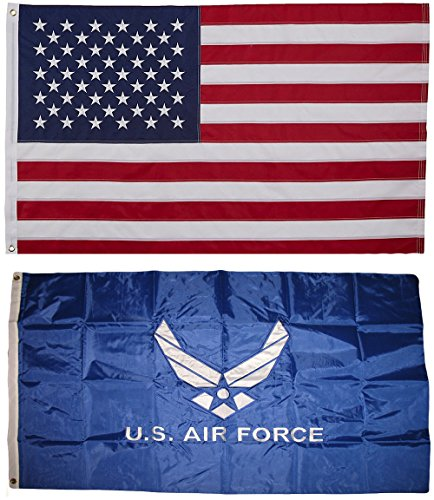 USA and Air Force Wings Flag 3x5 EMBROIDERED 2 double sided