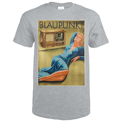 Blaupunkt Vintage Poster (artist: Gaigg) Germany c. 1940 (Sport Grey T-Shirt Large)