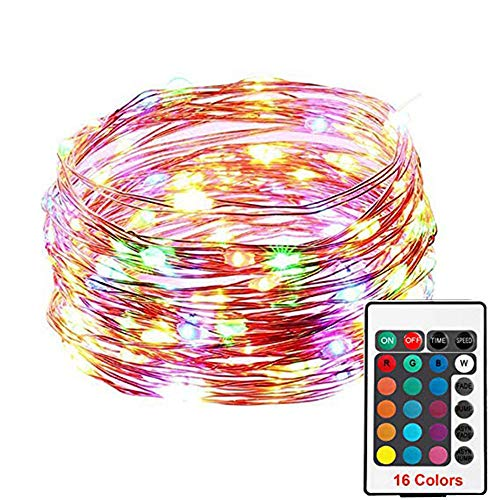 100 Led String Lights Electric Plug-in Multi Color Change String Remote Fairy with Timer Firefly Twinkle Lights for Bedroom Party Wedding Halloween Christmas Decor (Multicolor, Free Size)