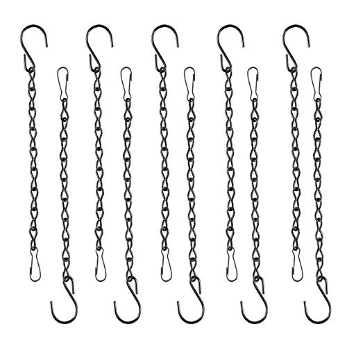(SLSON 10 Pack Hanging Chains for Bird Feeder, 9.8 inches Hanging Chains with Hooks for Birdhouse Bird Food Water Feeder Cage Hummingbird Accessories, Black)