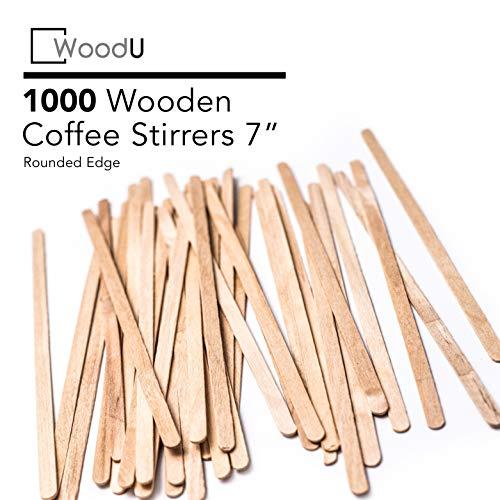 Coffee Stir Sticks Round End, Eco Friendly Coffee Stirrers Dark Wood for Hot Drinks (7 -