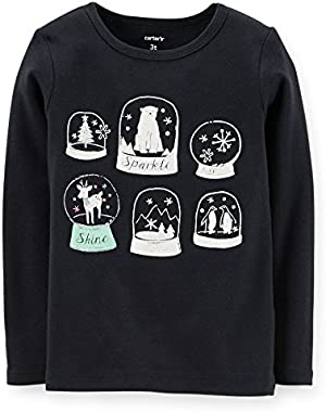 Girl 12m L/s Sparkle Snow Globe; Black