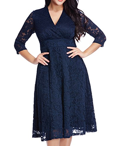 [Women's Lace Plus Size Mother of the Bride Skater Dress Bridal Wedding Party Navy 22W] (Plus Size Evening Wear)