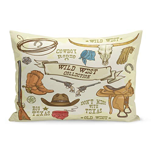 Semtomn Throw Pillow Covers Western Wild West Collection Cowboy Stuff Texas Rodeo Hat Longhorn Pillow Case Cushion Cover Lumbar Pillowcase Decoration for Couch Sofa Bedding Car 20 x 36 inchs