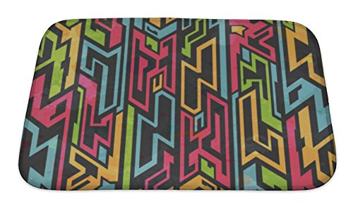 Gear New Colored Tribal Graffiti Pattern Bath Rug Mat No Slip Microfiber Memory Foam