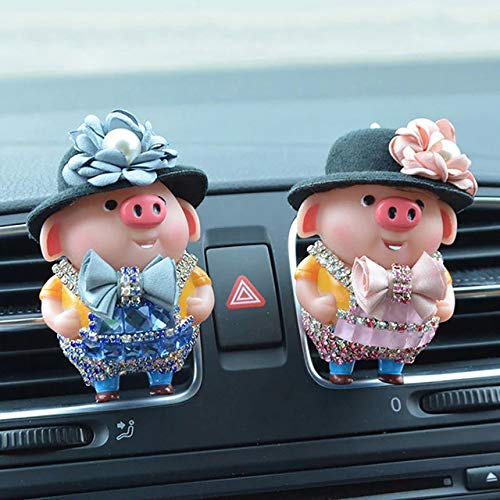 Car Freshener Cute Diamond Pig Doll Perfume Clip Decoration Automobiles Outlet Air Purifier Scent Smell Diffuser Gifts