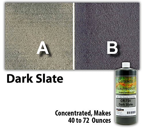 Concrete Stain Concentrate Just Add Water, User & Eco-Friendly Semi-Transparent Professional Grade Cement Stain, Concrete Resurrection Brand (8 ounce, Dark Slate)