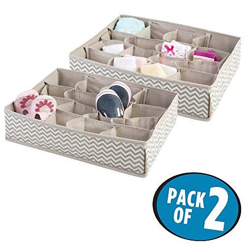 mDesign Chevron Fabric Baby Nursery Closet Organizer for Clothing, Socks, Bibs - (Fabric Baby Bib)