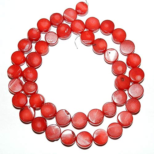 - Red Bamboo Coral 9mm - 10mm Freeform Flat Round Nugget Coin Beads 16#ID-3117